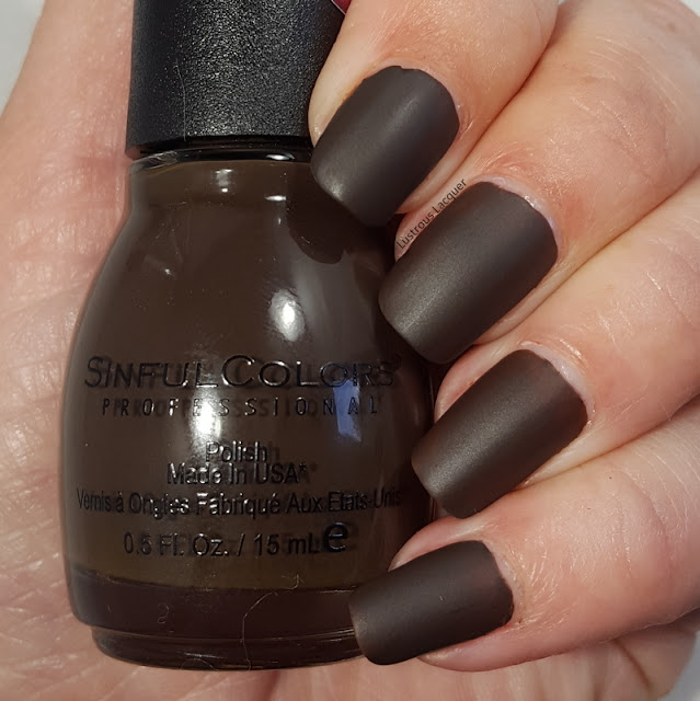 Leather brown colored nail polish with a matte finish