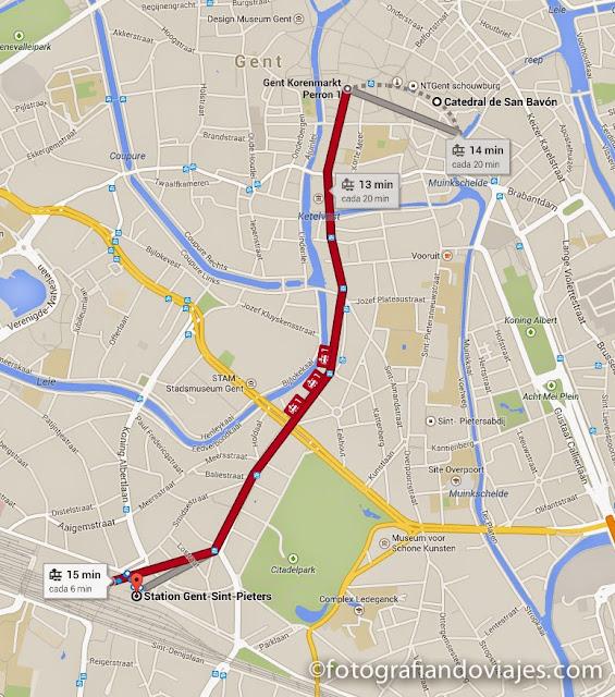 plano de como llegar al centro desde la estación de Gante