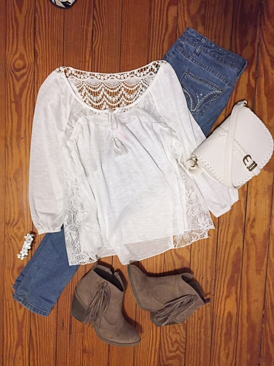 white crochet panels outfit of the day