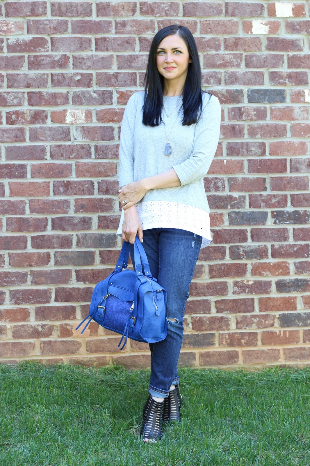Caged sandals, eyelet, J. Jill, blue satchel