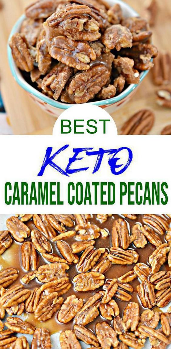 Keto Caramel Coated Pecans