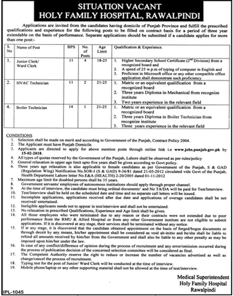 Holy Family Hospital Rawalpindi New Today Advertisement Jan 201