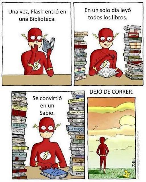 Meme de humor sobre Flash y la lectura