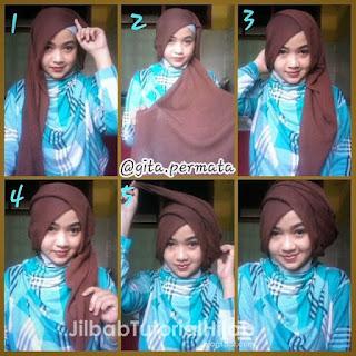 tutorial hijab segi empat 2 warna untuk pesta pernikahan