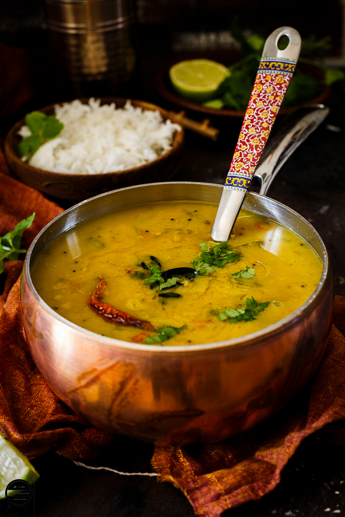 Gujarati daal is a staple in Gujarati households. It is prepared with Tuver daal and aromatic spices. It is little sweet, spicy and tangy in taste.