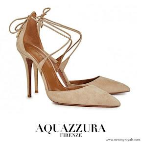Meghan Markle wore AQUAZZURA Matilde sand suede pumps