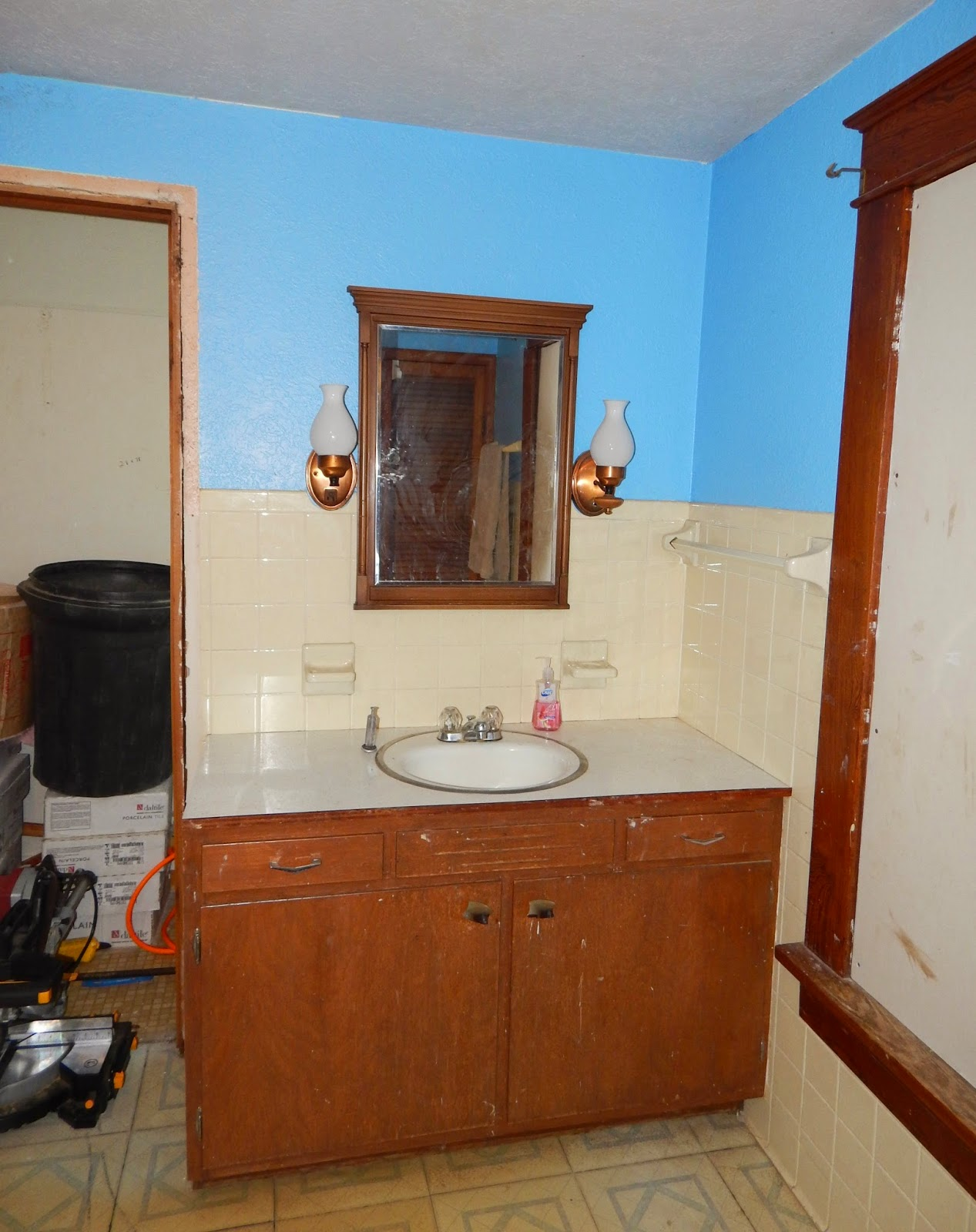 Behind The Vanity Was A Long Narrow Closet That Wasnt Functional We Tore Out That Wall And Replaced A Teeny Tiny Baby Storm Window With One More
