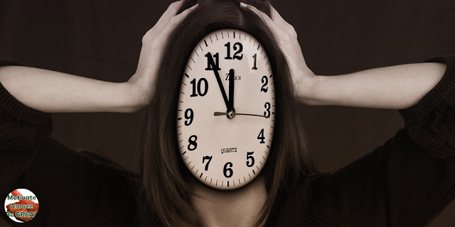 "Header image of the article: ""Relaxation Revelations: 4 Easy Ways to Reduce Stress"". Stressed Woman with head clock"