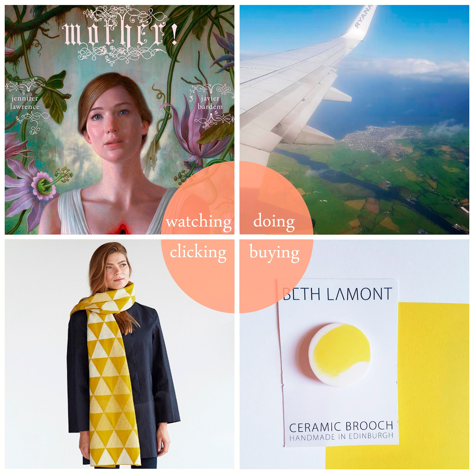 Blogger round up of September 2017 featuring Mother!, Northern Ireland, a Beth Lamont brooch and a yellow Hilary Grant scarf