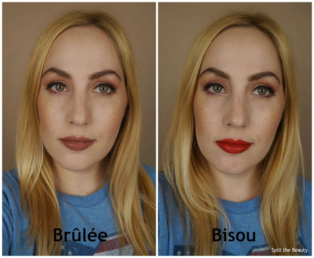 Stila stay all day matteificent lipstick brulee bisou review swatches 4 arm swatch
