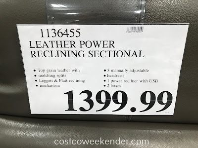 Deal for the Leather Power Reclining Sectional at Costco