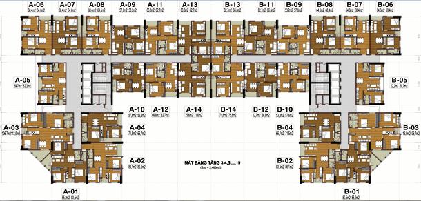 Thiết kế căn hộ tầng 3-19 tecco thanh trì