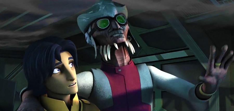 Hondo Ohnaka şi Ezra în Star Wars: Rebels Sezonul 2