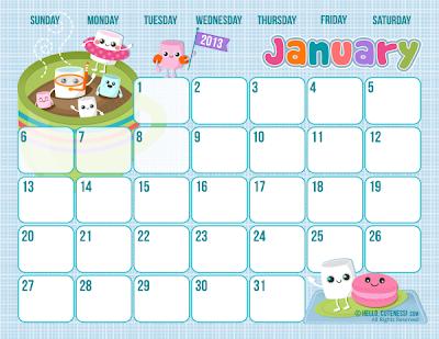 2013 monthly calendars