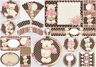 Bear with Roses: Free Printable Kit.