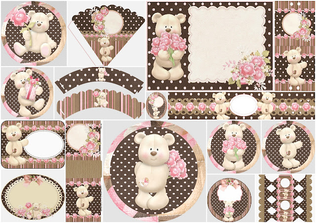 Sweet Teddy Bear with Roses: Free Printable Kit.