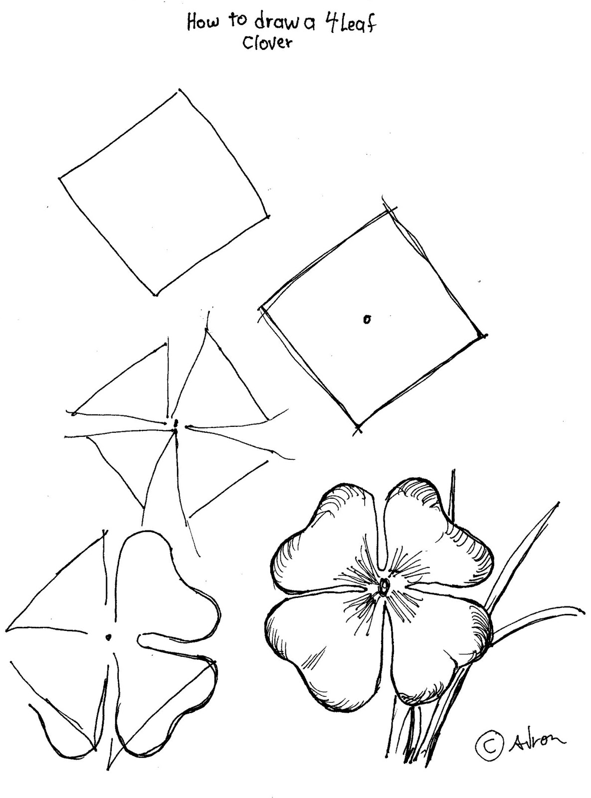 how to draw a four leaf clover