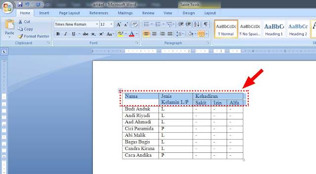 Cara Mendesain, Menghapus dan Membuat Tabel di Microsoft Word