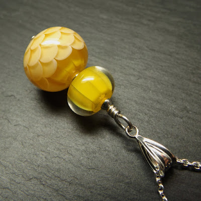 Lampwork glass 'Lemon Curd' bead pendant by Laura Sparling