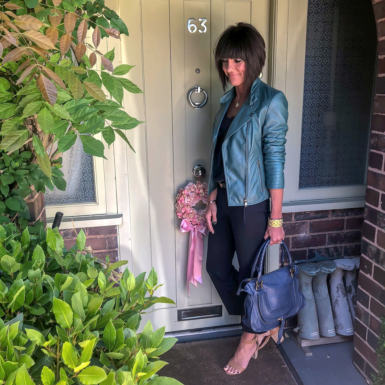 my midlife fashion, lakeland leather toni leather biker jacket in petrol green, next tan block heel sandals, j crew cropped kick flare sammie trousers, massimo dutti lace trim silk camisole, chloe marcie bag