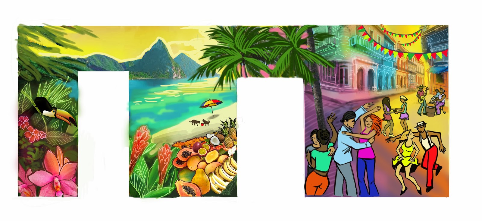 latin dance mural, cuba salsa mural, dance party mural, latin beach mural