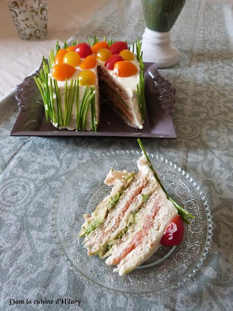 Sandwich-cake saumon fumé & guacamole