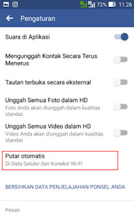Pengaturan video facebook di android