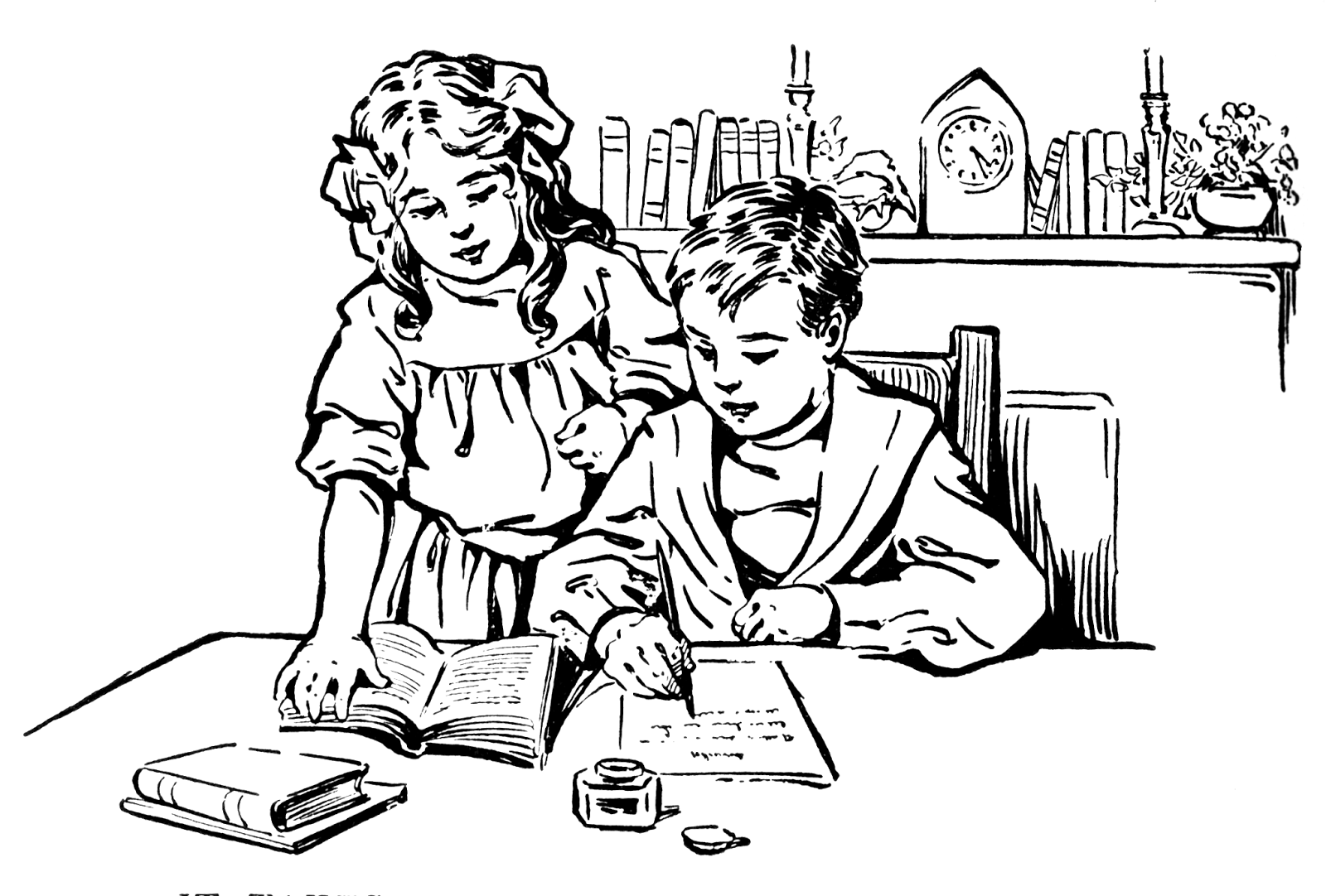Vintage Snips And Clips Boy And Girl Studying