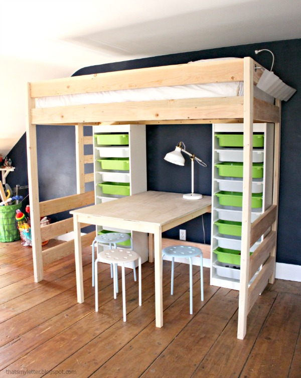 kids loft bed with desk space under