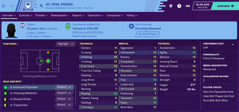 Phil Foden: Starting Attributes in FM2020
