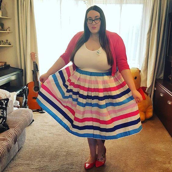 Lindy Bop Tippi Ice Cream Stripe Swing Skirt