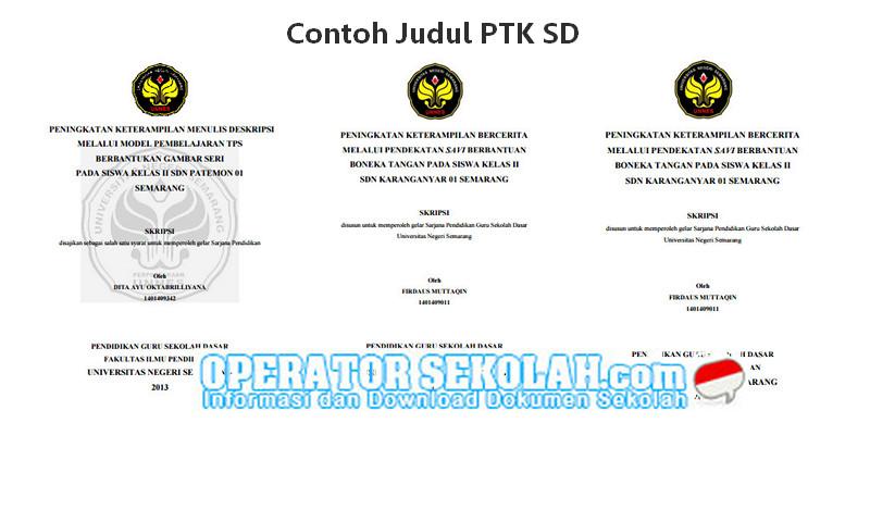 Kumpulan Contoh Judul PTK SD Kelas 1, 2, 3, 4, 5, 6 PDF