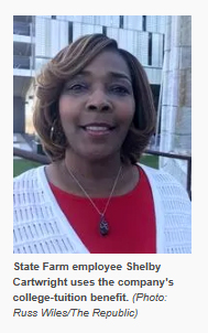snapshot photo of Shelby Cartright and caption from story: State Farm employee Shelby Cartwright uses the company's college-tuition benefit. (Photo: Russ Wiles/The Republic)