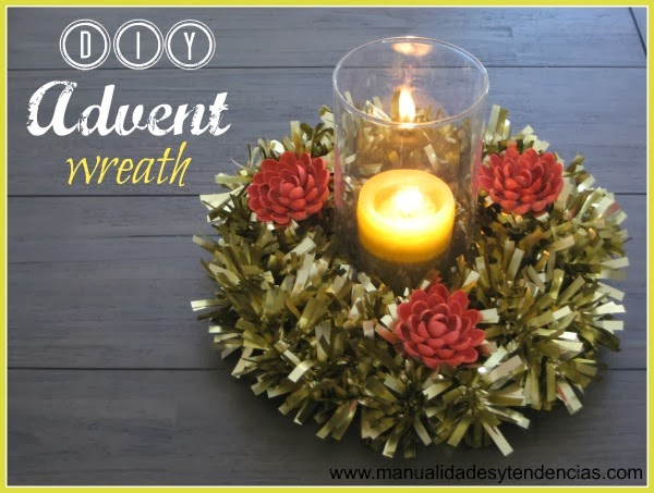 DIY Advent wreath made with tinsel and recycled supplies