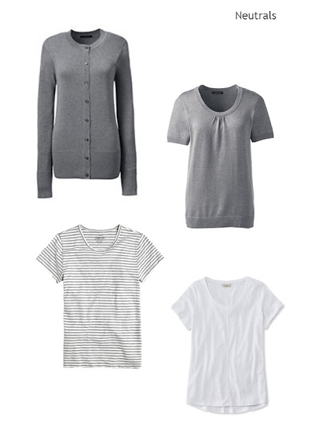 four sweaters and tee shirts in grey and white