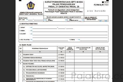 Formulir SPT Masa PPh Pasal 21, PPh Pasal 22, PPh Pasal 23, PPh Pasal 4 (2), dan PPh Pasal 15 Excel Atau PDF