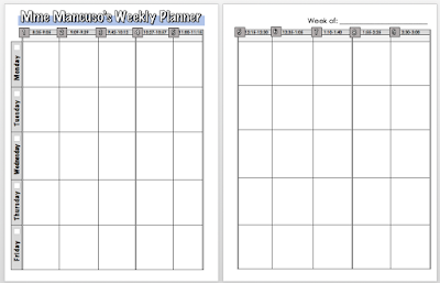 Weekly Planner for 9-Period Day Template