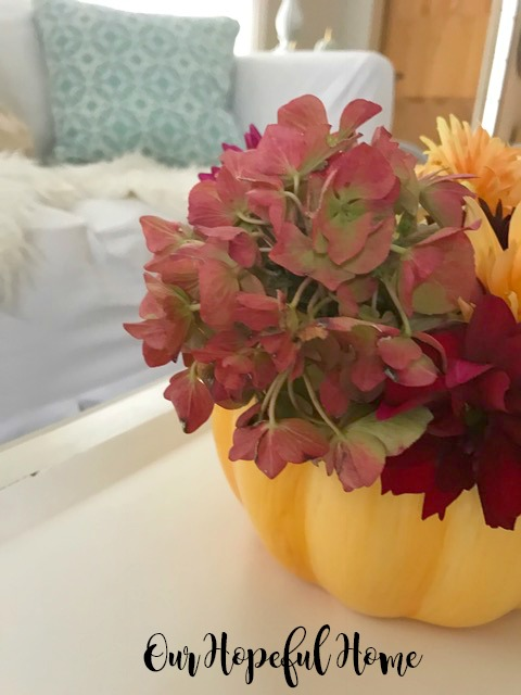 ceramic pumpkin vase fall flowers