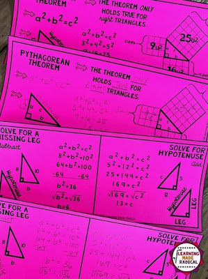 Pythagorean Theorem bookmark notes