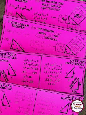 Pythagorean Theorem bookmark notes
