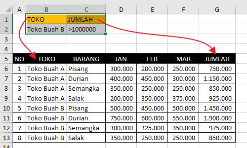 Langkah Menggunakan Advanced Filter Pada Excel 2