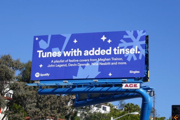 Spotify Tunes with extra tinsel billboard