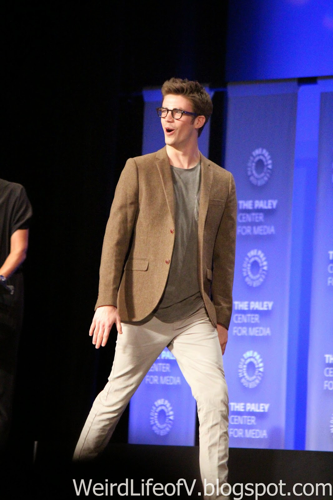 Grant Gustin arriving on stage
