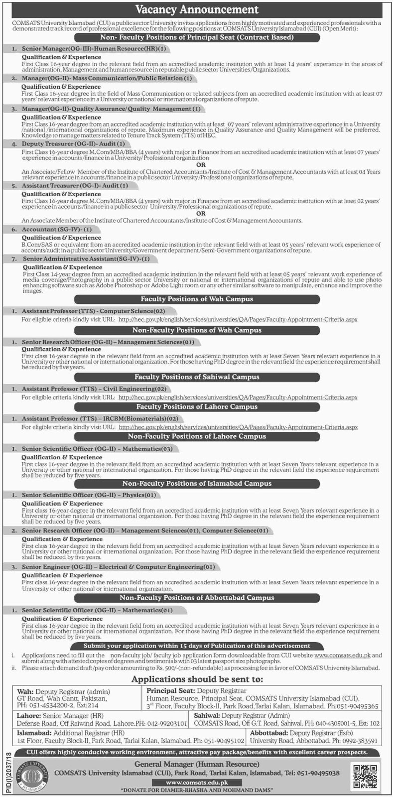 COMSATS University Islamabad Latst Jobs Nov 2018