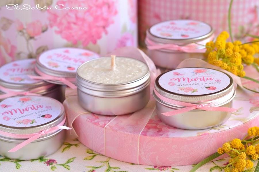 Detalles para bautizos velas aromaticas personalizadas