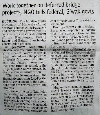 "ABIM Sarawak di Media: ""Work Together on Deffered Bridge Projects, NGO Tells Federal, S'wak Govts"""