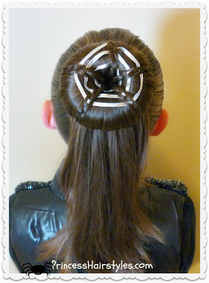 Spider web hairstyle for Halloween.