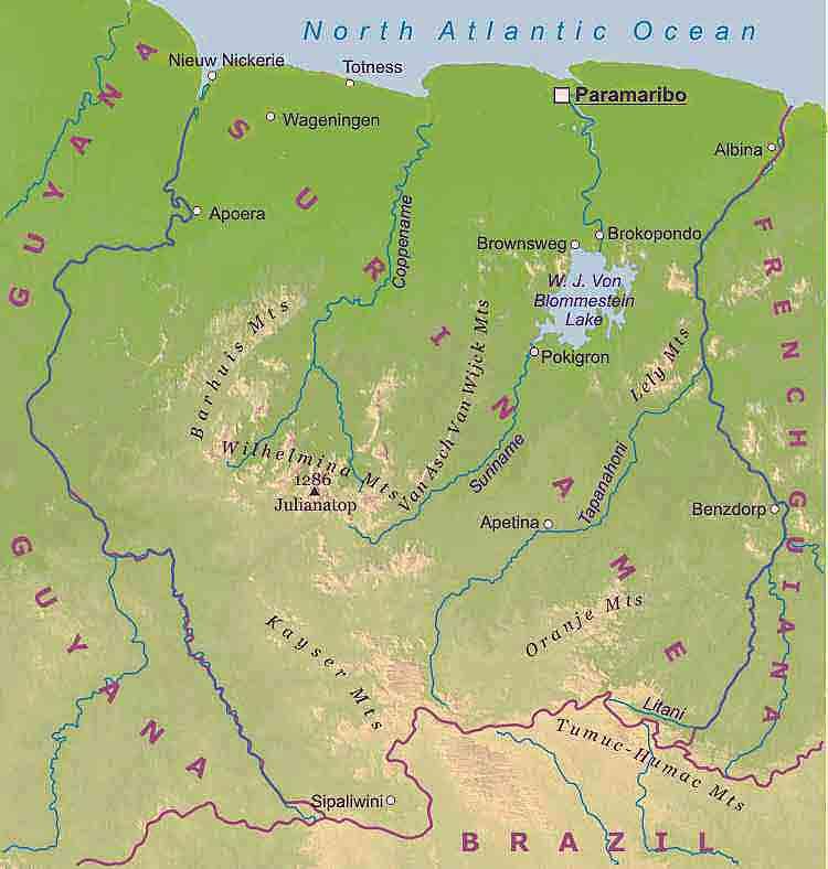 Surinami - Hartat gjeografike në Suriname