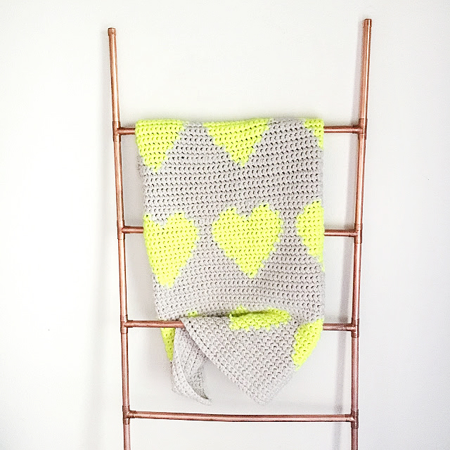 Hearts Tapestry Crochet baby blanket by The Faded Pineapple