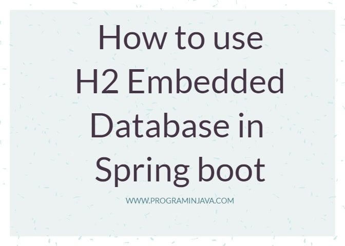 How to Use H2 Embedded database in spring boot ~ Program in